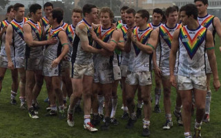 Melbourne footy team don gay apparel for anti-homophobia campaign