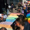 Protesters install rainbow road outside Daily Telegraph offices