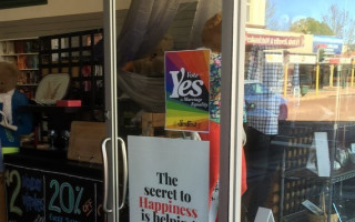 Positive Signs: Vote Yes for marriage equality poster at Salvo's store