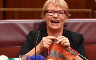 Senator Janet Rice donates her knitting to the Gay and Lesbian Archives