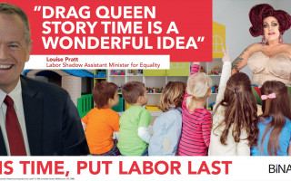 Binary's billboard attacking Drag Queen Story Time banned