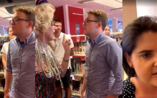 Chanting UQ Young Liberals protest children's storytime event