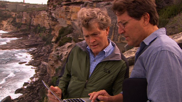 Steve Johnson and Daniel Glick at the Manly Cliff Site. (ABC TV)