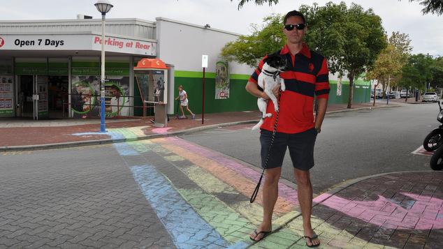 Mount Lawley local Adam Bishop at the rainbow crossing.