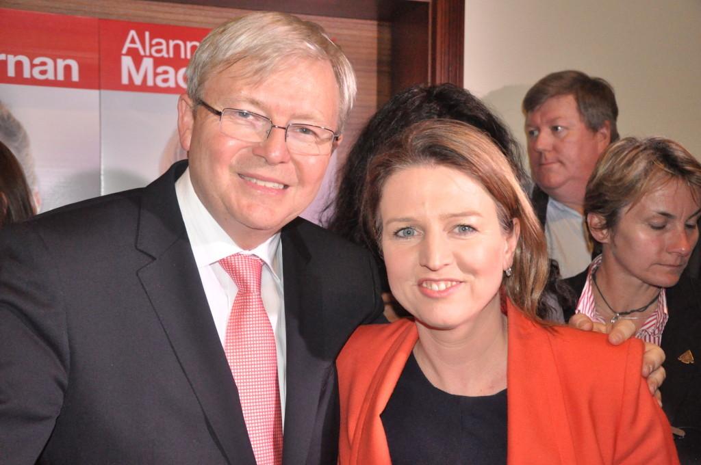 Prime Minister Kevin Rudd and Senator Louise Pratt