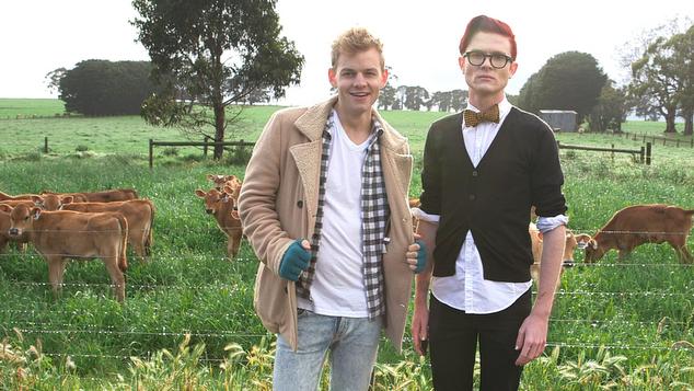 GAYCRASHERS Joel Creasey and Rhys Nicholson at local Colac farm