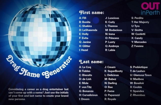 Drag Queen Name Generator - OUTInPerth - LGBTIQ News and