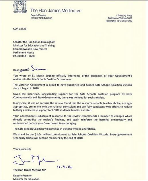 Safe Schools Letter