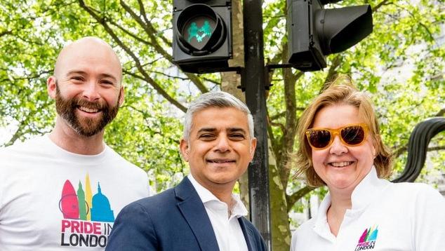 UK-Pride-Traffic-Light-Signals-Mayor-Sadiq-Khan-with-Pride-In-London