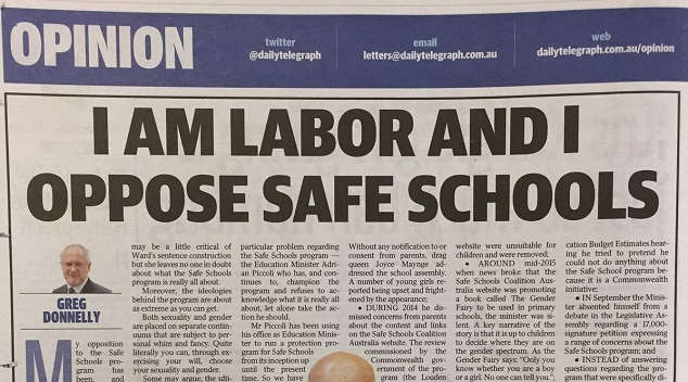 ANTI SAFE SCHOOLS LABOR ALP