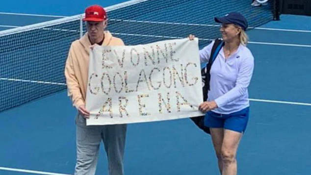 Image result for picture of poster condemning Margaret Court at Australian Open